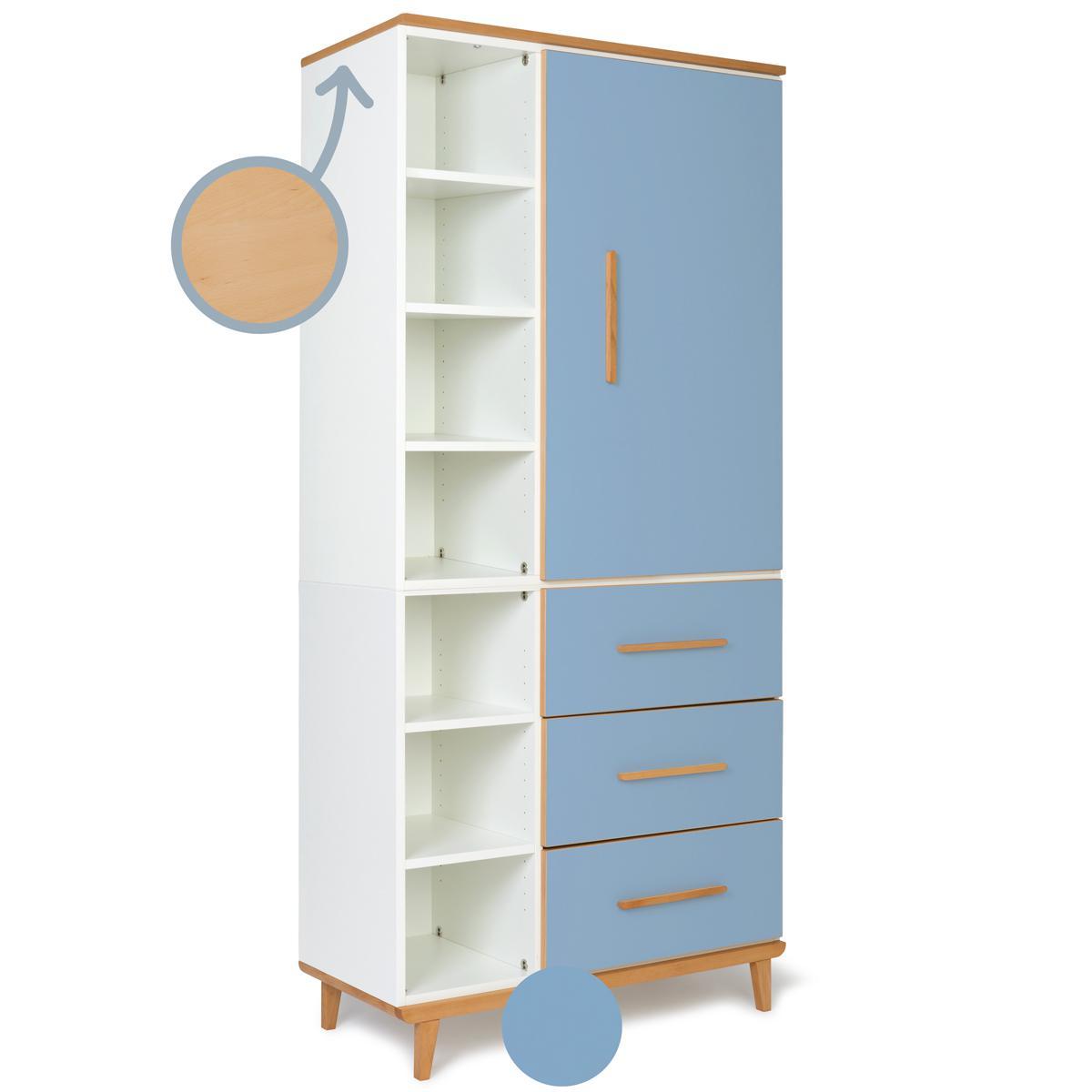 Kleiderschrank 198cm 1-türig 3 Schubladen NADO capri blue
