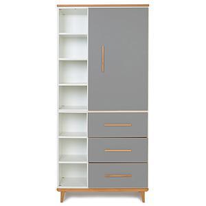 Kleiderschrank 198cm 1-türig 3 Schubladen NADO slate grey