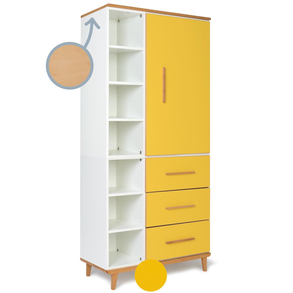 Kleiderschrank 198cm 1-türig 3 Schubladen NADO sunshine yellow