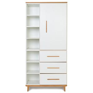 Kleiderschrank 198cm 1-türig 3 Schubladen NADO white
