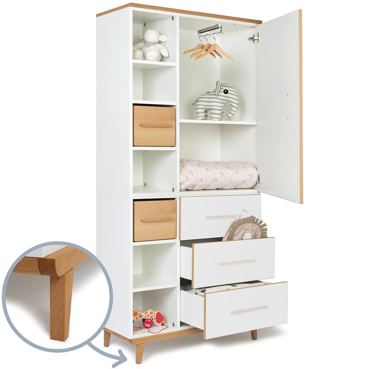 Kleiderschrank 198cm 1-türig 3 Schubladen ohne frontschubladen-tür NADO