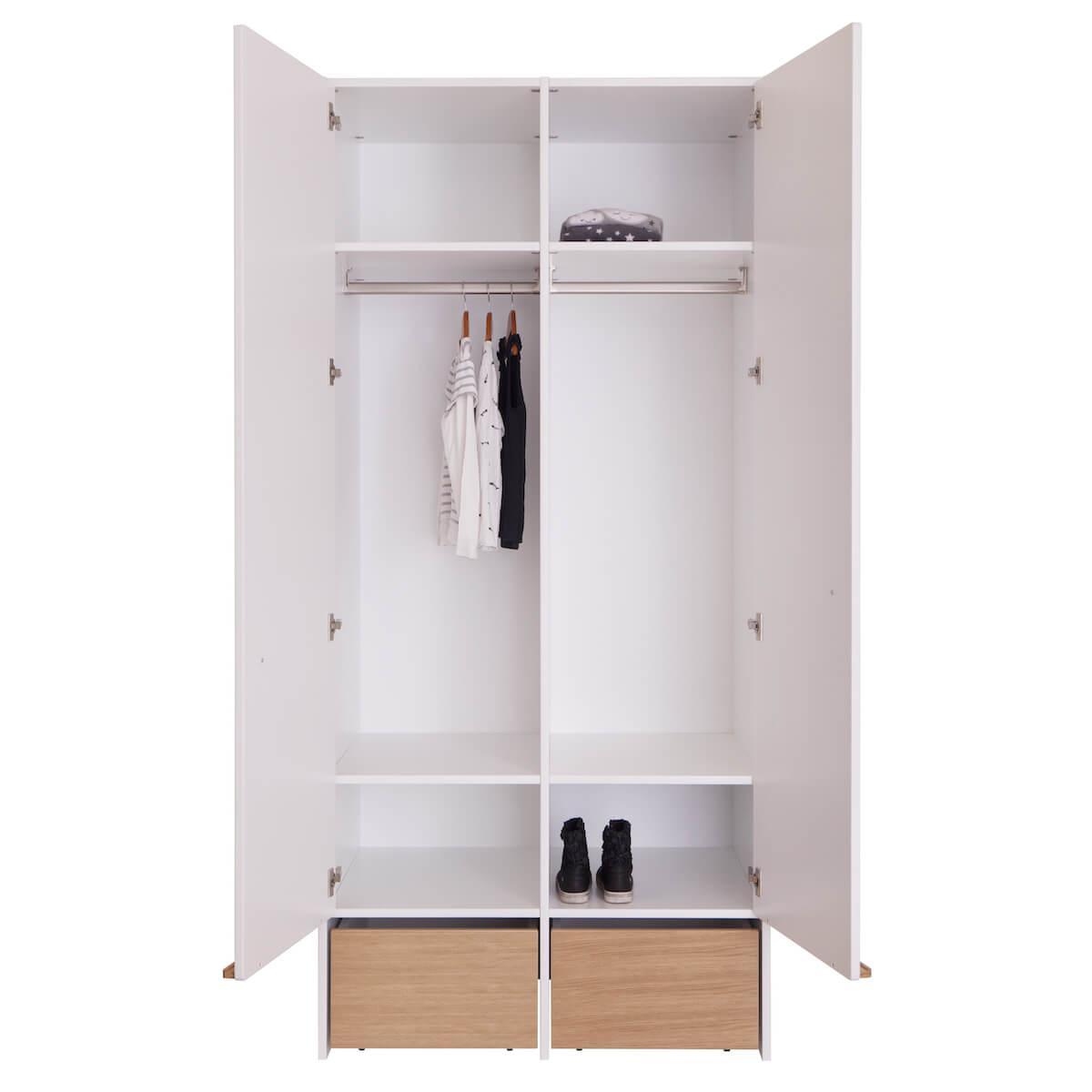 Kleiderschrank 2 Türen 2 Rollkästen KASVA Debreuyn weiß-Eiche