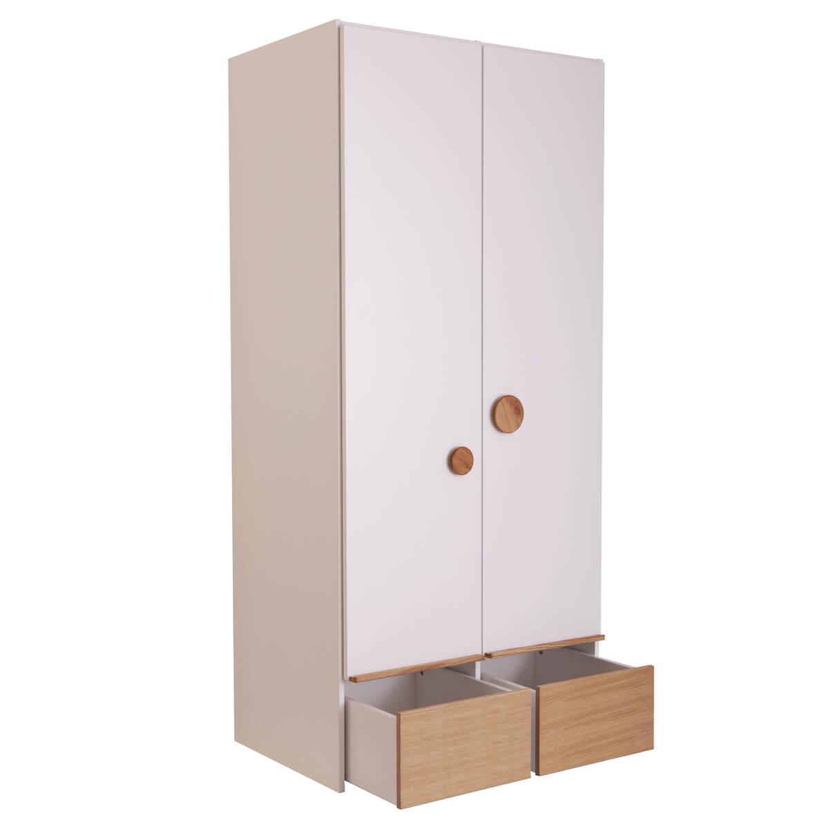 Kleiderschrank 2 Türen 2 Rollkästen KASVA weiß-Eiche