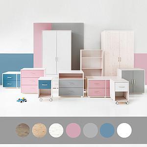 Kleiderschrank 2 Türen-2 Schubladen CLASSIC Flexa white wash-weiß-weiß