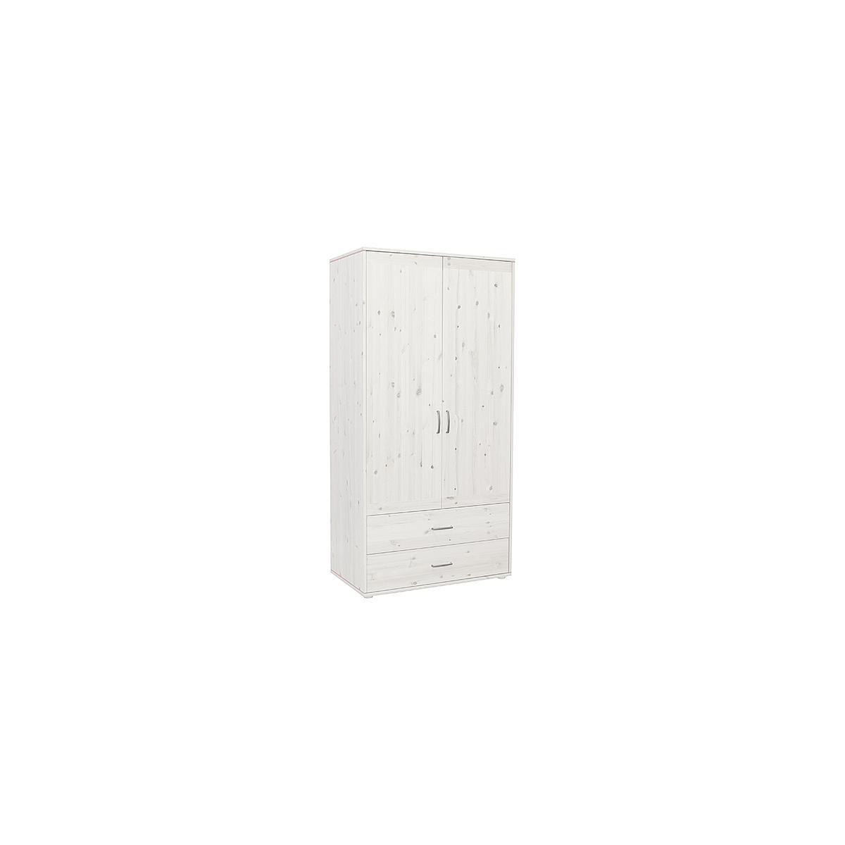 Kleiderschrank 2 Türen-2 Schubladen CLASSIC Flexa white wash-white wash-weiß