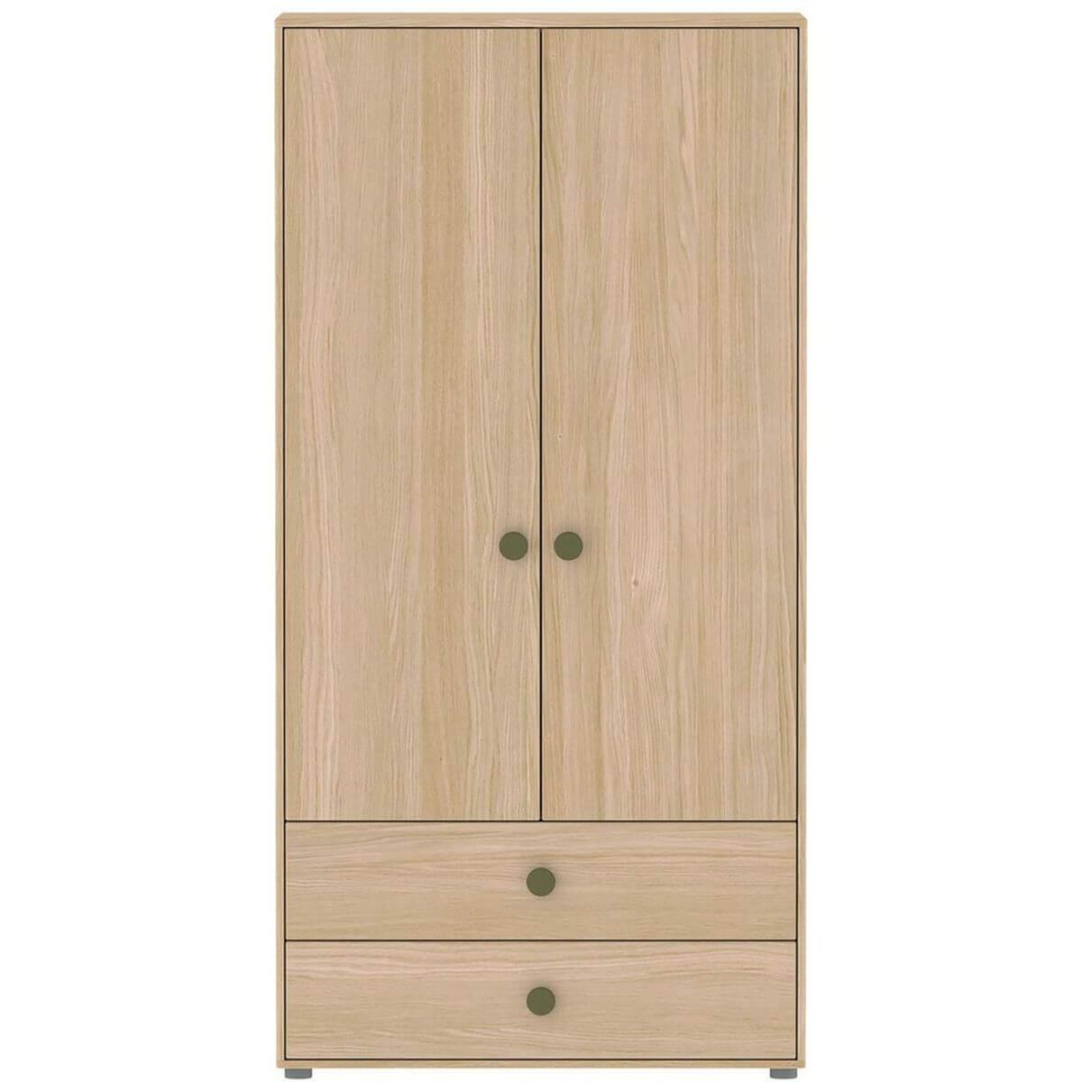 Kleiderschrank 2 Türen 202x101cm POPSICLE Flexa Eiche-kiwi