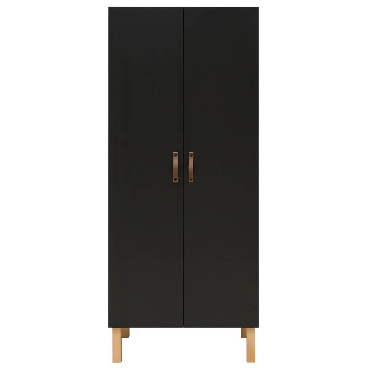 Kleiderschrank 2 Türen FLORIS Bopita Schwarz Mat-Natur