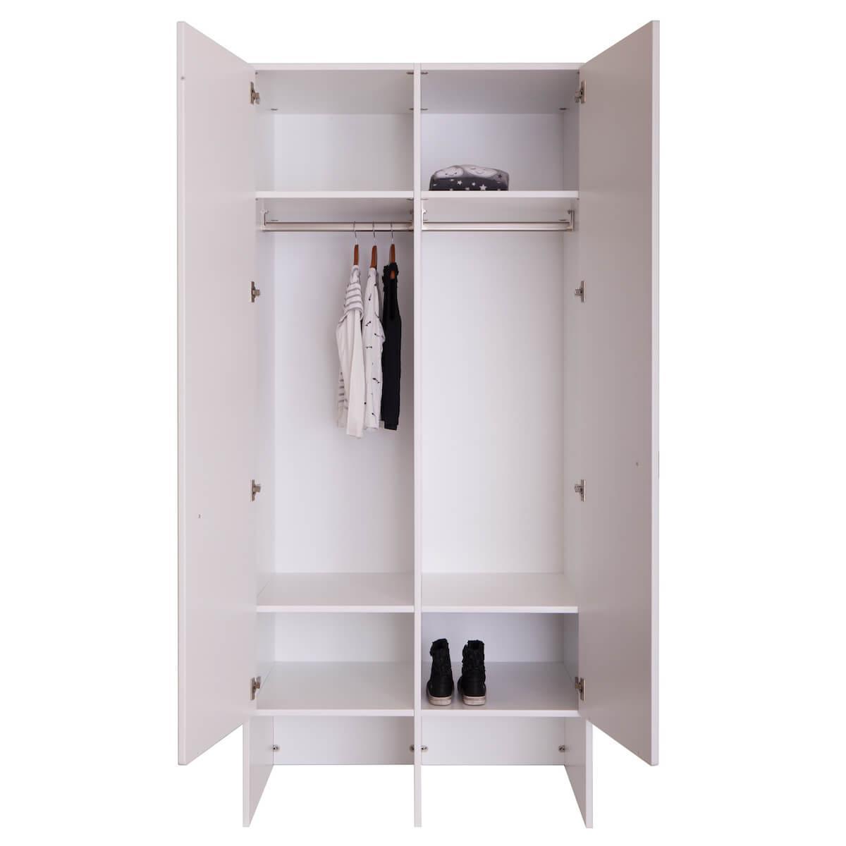 Kleiderschrank 2 Türen KASVA weiß-Eiche
