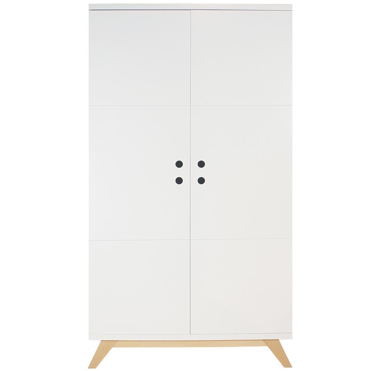 Kleiderschrank 2 Türen LYNN Bopita weiß-natur
