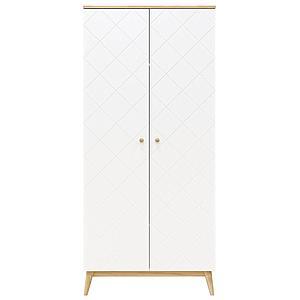 Kleiderschrank 2 Türen PARIS Bopita Weiß-Eiche