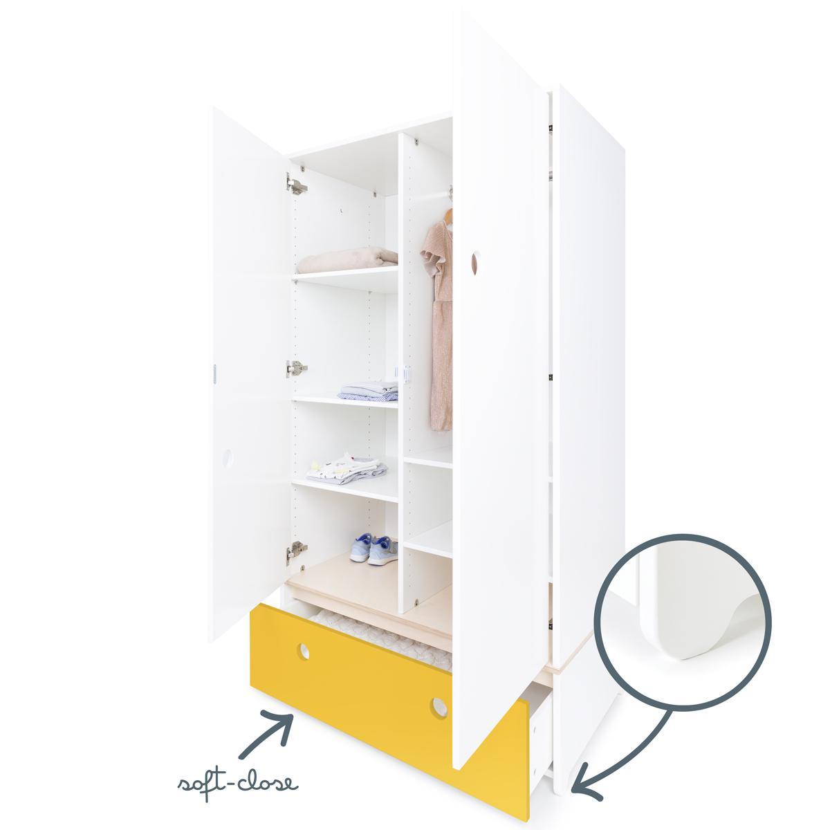 Kleiderschrank 2-türig COLORFLEX Abitare Kids Schublade nectar yellow