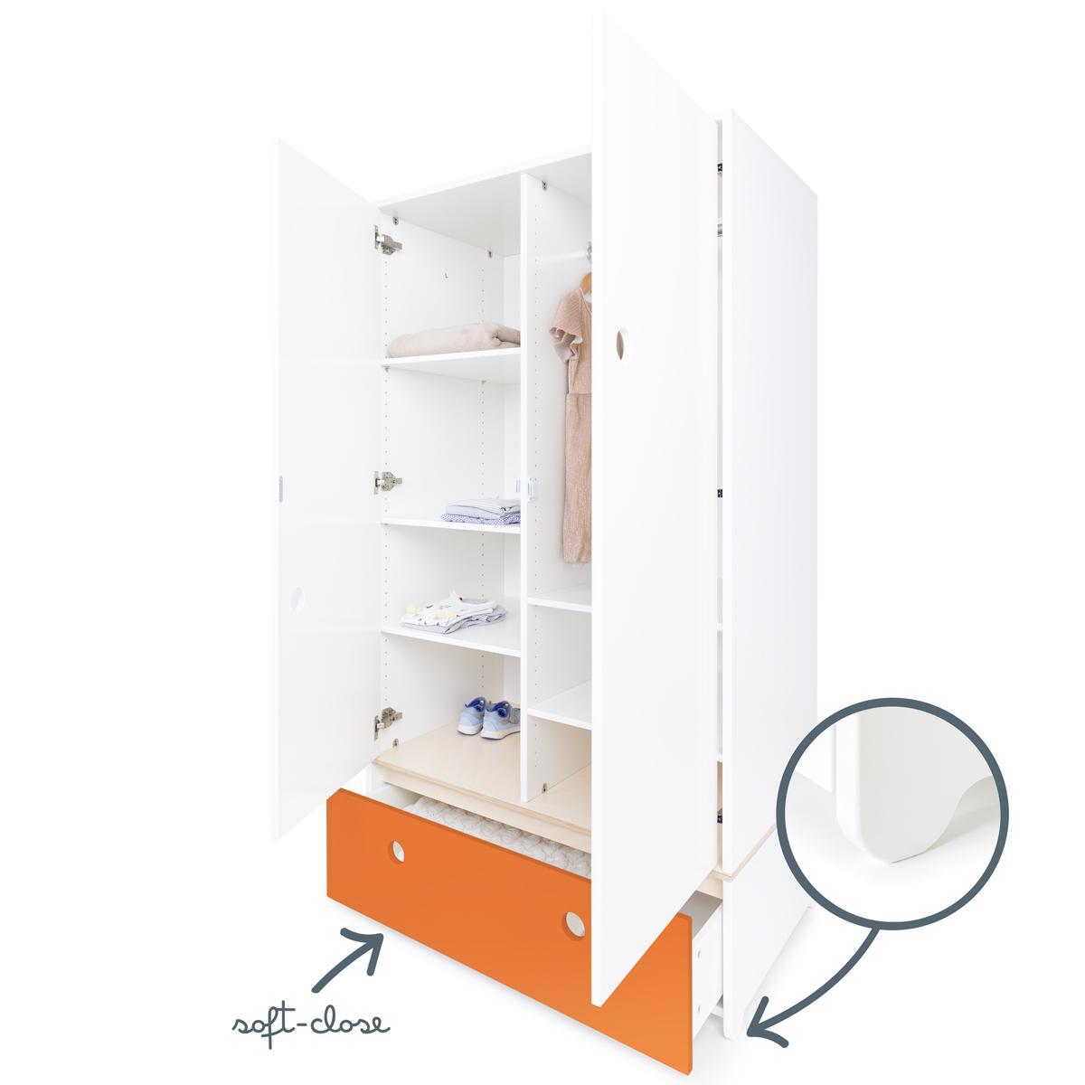 Kleiderschrank 2-türig COLORFLEX Schublade pure orange