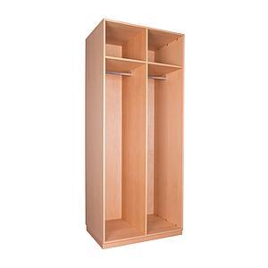 Kleiderschrank 2-türig hoch 219x93x60cm ohne Türen DESTYLE de Breuyn Buchenfurnierte Spanplatte natur geölt