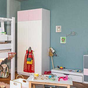 Kleiderschrank 2-türig hoch 219x93x60cm ohne Türen DESTYLE de Breuyn Buchenfurnierte Spanplatte weiß gebeizt-lackiert