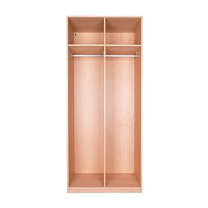 Kleiderschrank 2-türig hoch 219x93x60cm ohne Türen DESTYLE Debreuyn Buchenfurnierte Spanplatte natur geölt