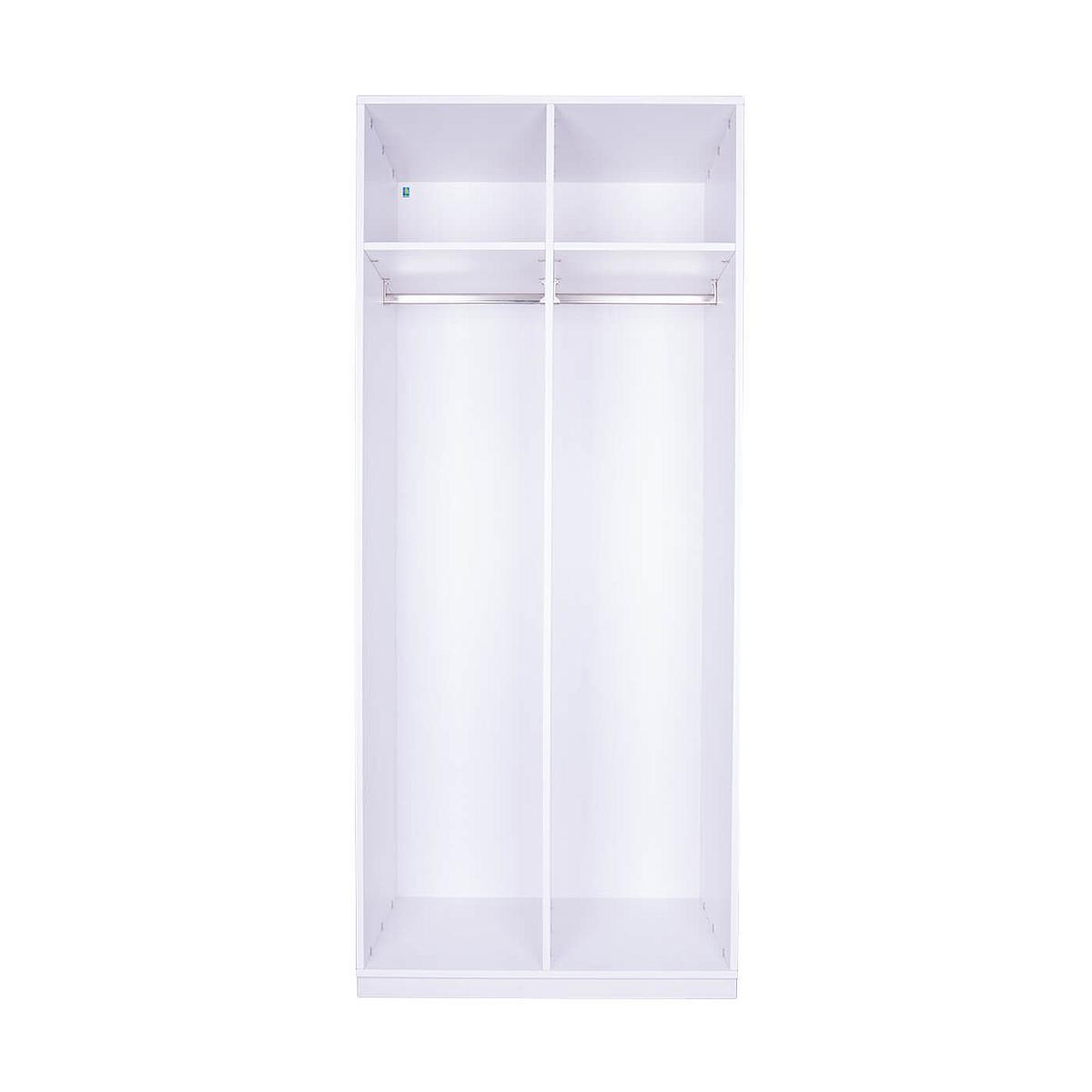Kleiderschrank 2-türig hoch 219x93x60cm ohne Türen DESTYLE Debreuyn Buchenfurnierte Spanplatte weiß gebeizt-lackiert