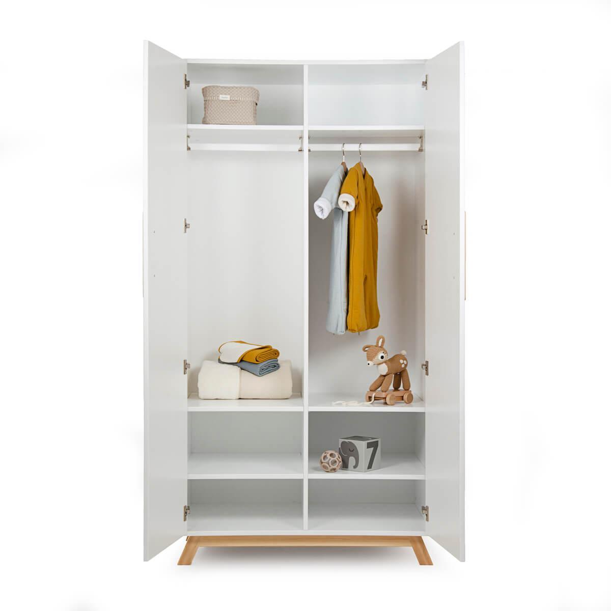 Kleiderschrank 2-türig SARA Basiak MDF weiß und Buche geölt