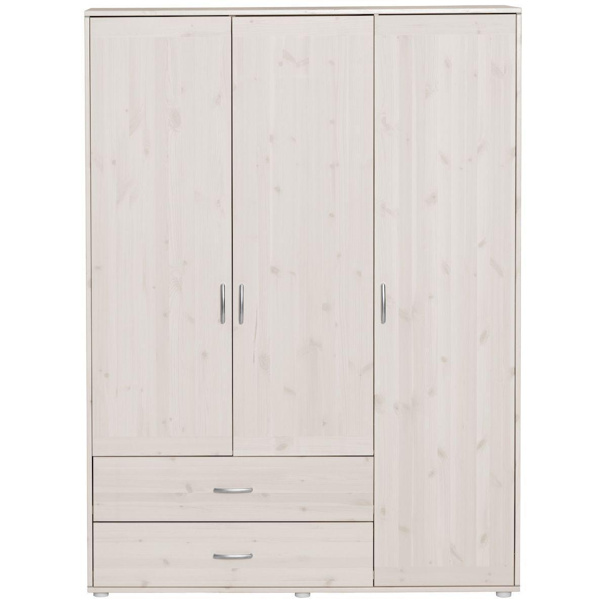 Kleiderschrank 3 Türen-2 Schubladen CLASSIC by Flexa whitewash