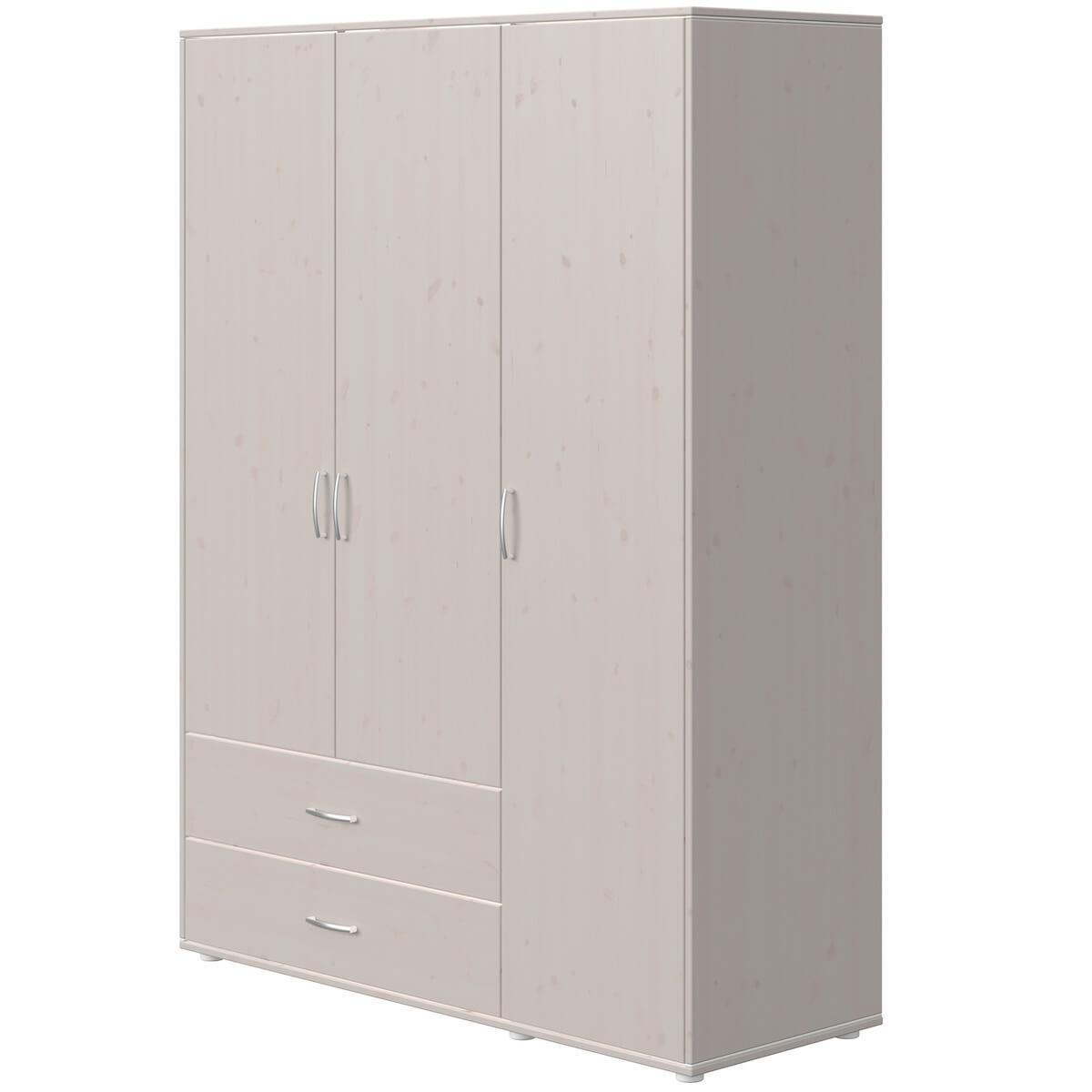 Kleiderschrank 3 Türen 2 Schubladen CLASSIC Flexa grey washed