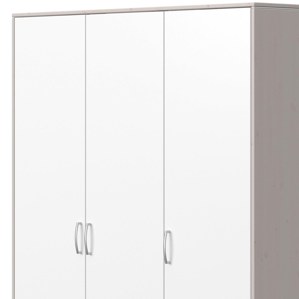 Kleiderschrank 3 Türen 2 Schubladen CLASSIC Flexa weiß-grey washed