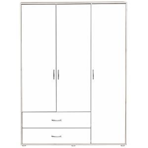 Kleiderschrank 3 Türen-2 Schubladen CLASSIC Flexa white wash-weiß-weiß