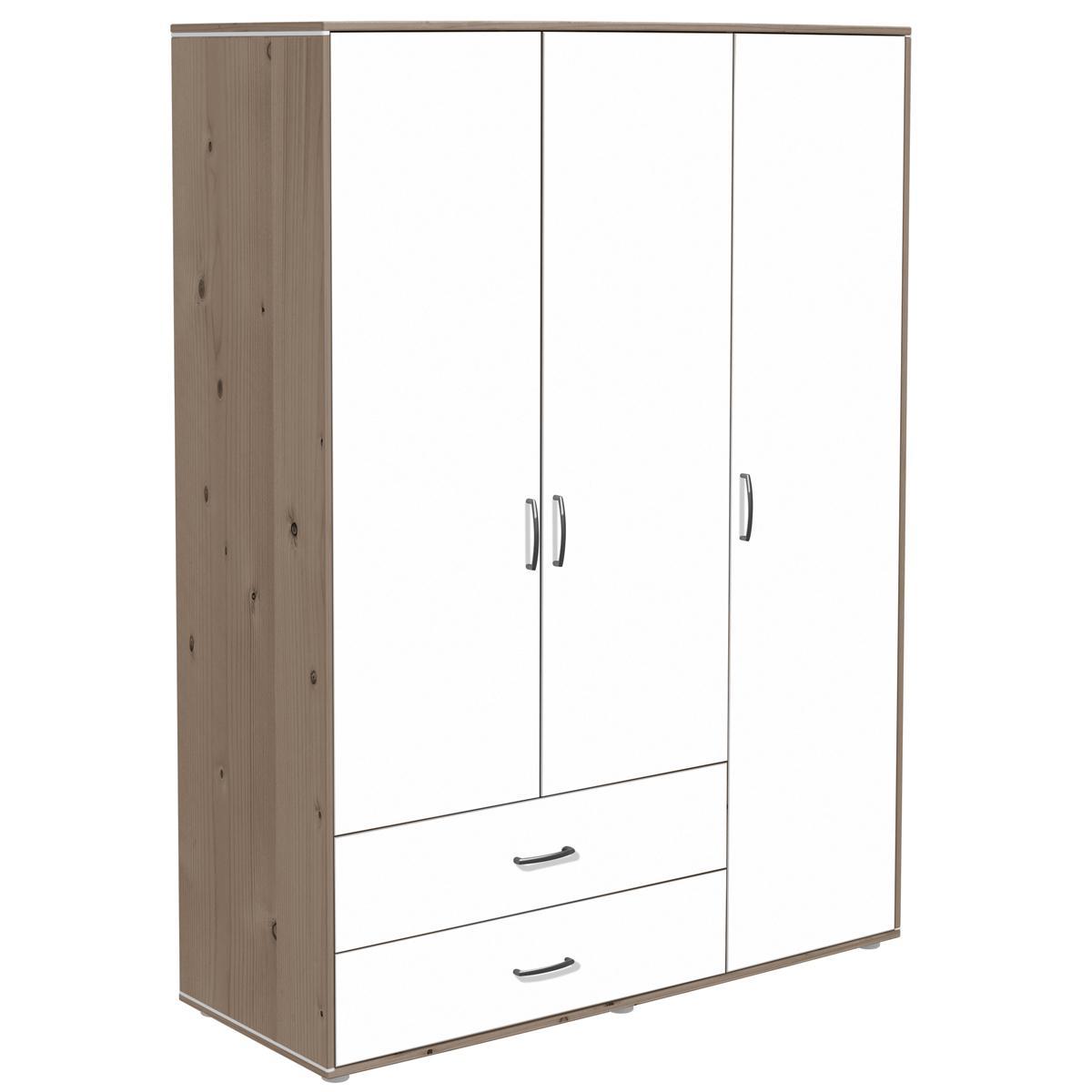 Kleiderschrank 3 Türen-2 Schubladen Flexa terra-weiß