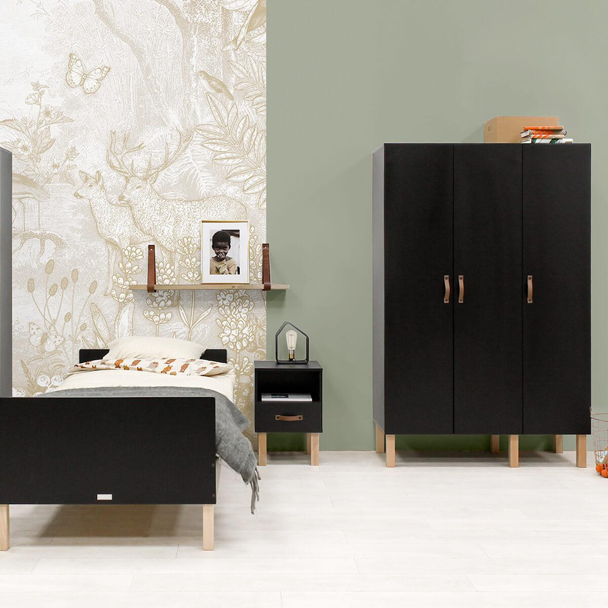 Kleiderschrank 3 Türen FLORIS Bopita Schwarz Mat-Natur