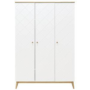 Kleiderschrank 3 Türen PARIS Bopita Weiß-Eiche
