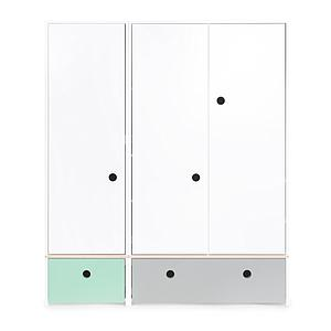 Kleiderschrank 3-türig COLORFLEX Abitare Kids Schubladen mint-pearl grey