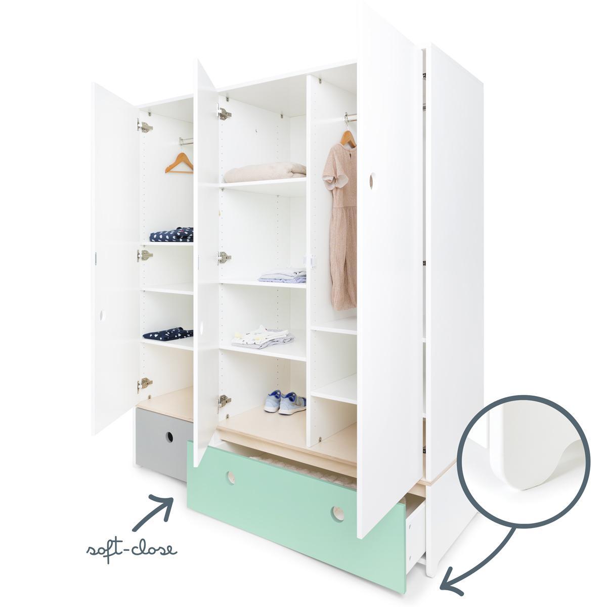 Kleiderschrank 3-türig COLORFLEX Abitare Kids Schubladen pearl grey-mint