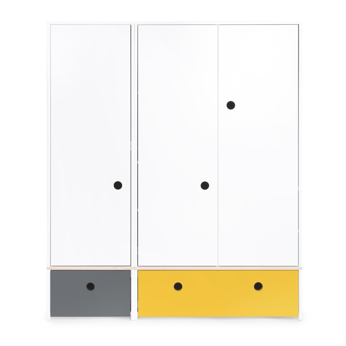 Kleiderschrank 3-türig COLORFLEX Abitare Kids Schubladen space grey-nectar yellow