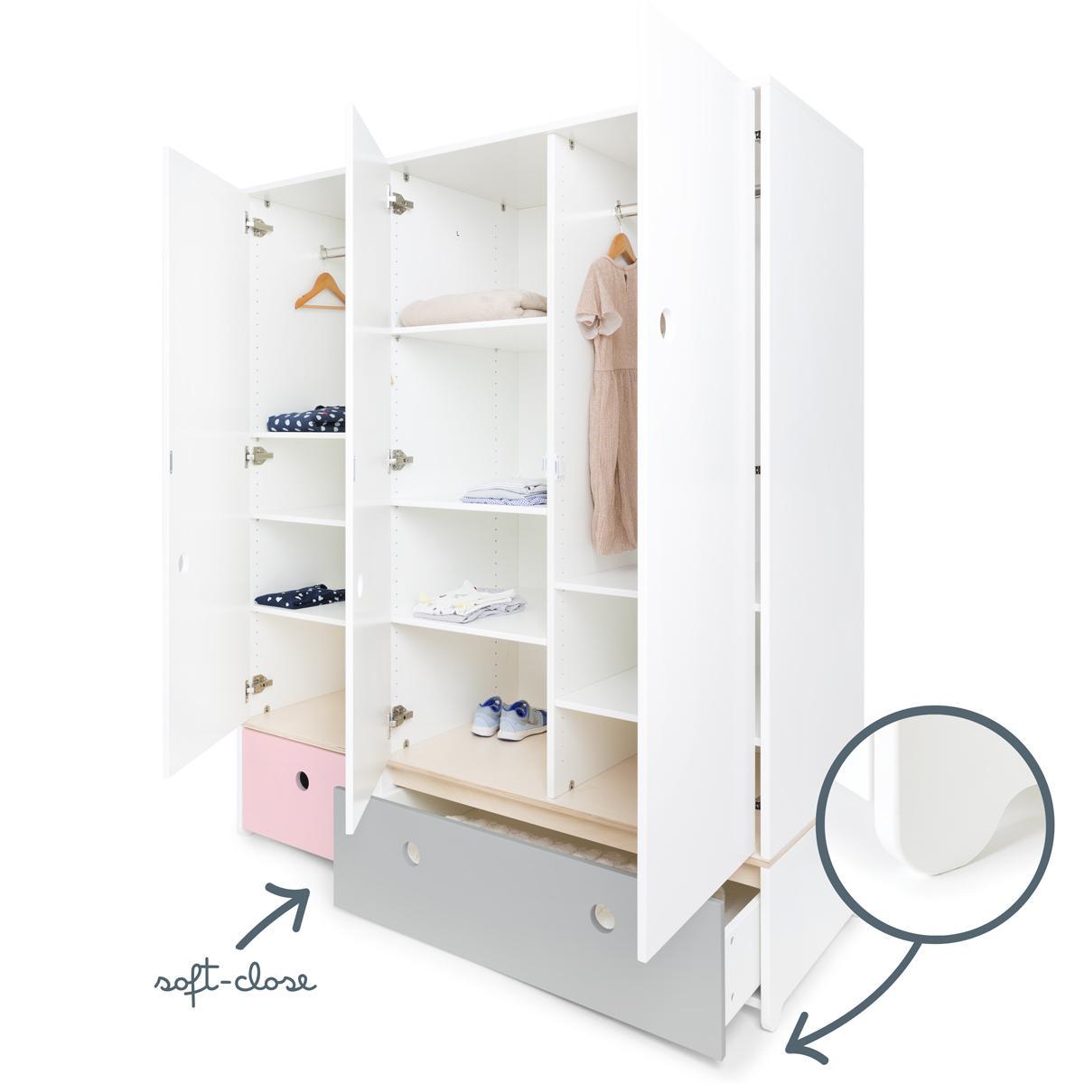 Kleiderschrank 3-türig COLORFLEX Abitare Kids Schubladen sweet pink-pearl grey