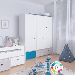 Kleiderschrank 3-türig COLORFLEX Abitare Kids Schubladen white-pearl grey