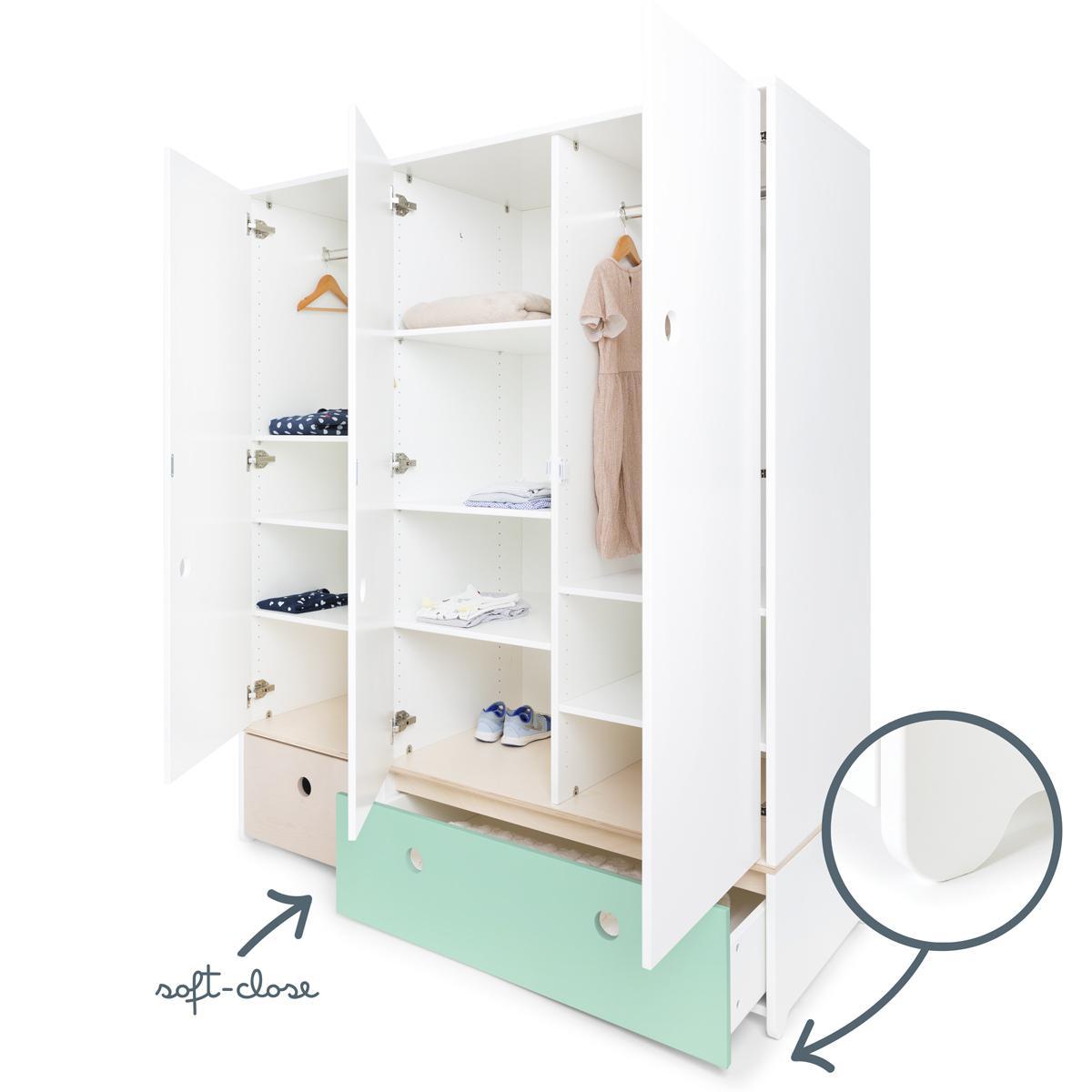 Kleiderschrank 3-türig COLORFLEX Abitare Kids Schubladen white wash-mint