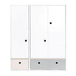 Kleiderschrank 3-türig COLORFLEX Abitare Kids Schubladen white wash-pearl grey