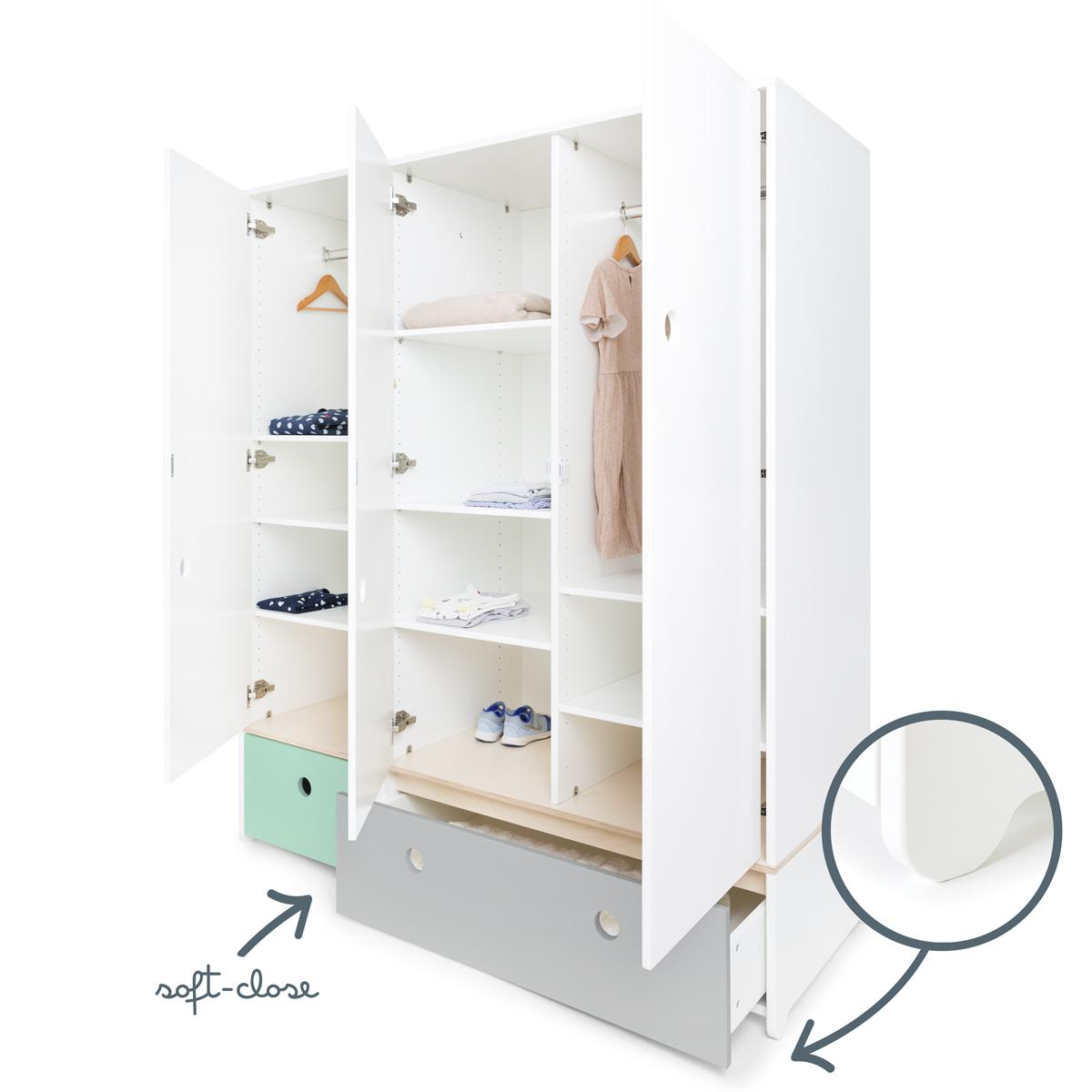 Kleiderschrank 3-türig COLORFLEX Schubladen mint-pearl grey