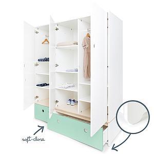 Kleiderschrank 3-türig COLORFLEX Schubladen mint