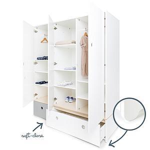 Kleiderschrank 3-türig COLORFLEX Schubladen pearl grey-white