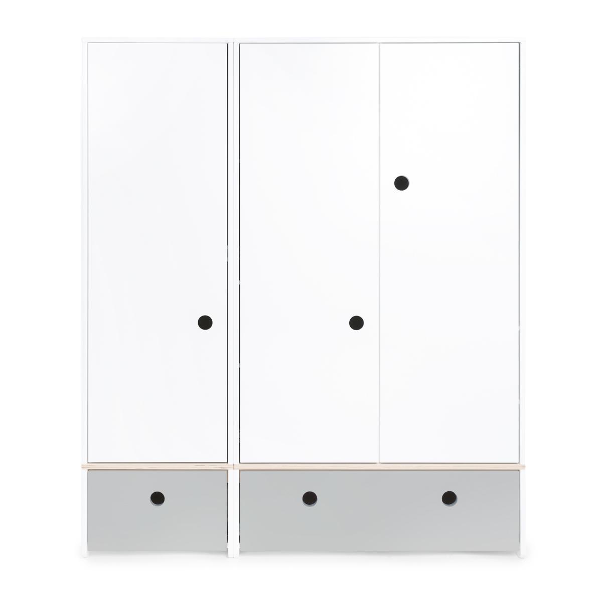 Kleiderschrank 3-türig COLORFLEX Schubladen pearl grey