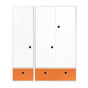 Kleiderschrank 3-türig COLORFLEX Schubladen pure orange