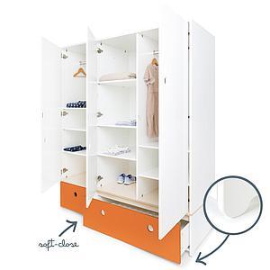 Kleiderschrank 3-türig COLORFLEX Schubladen pure orange