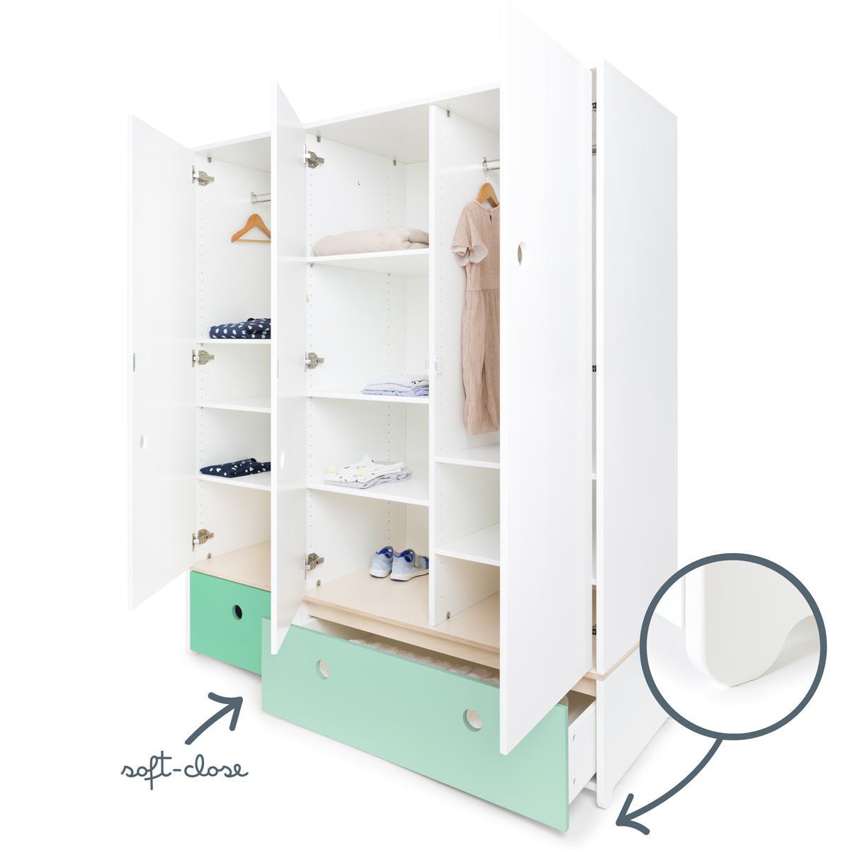Kleiderschrank 3-türig COLORFLEX Schubladen sea foam-mint