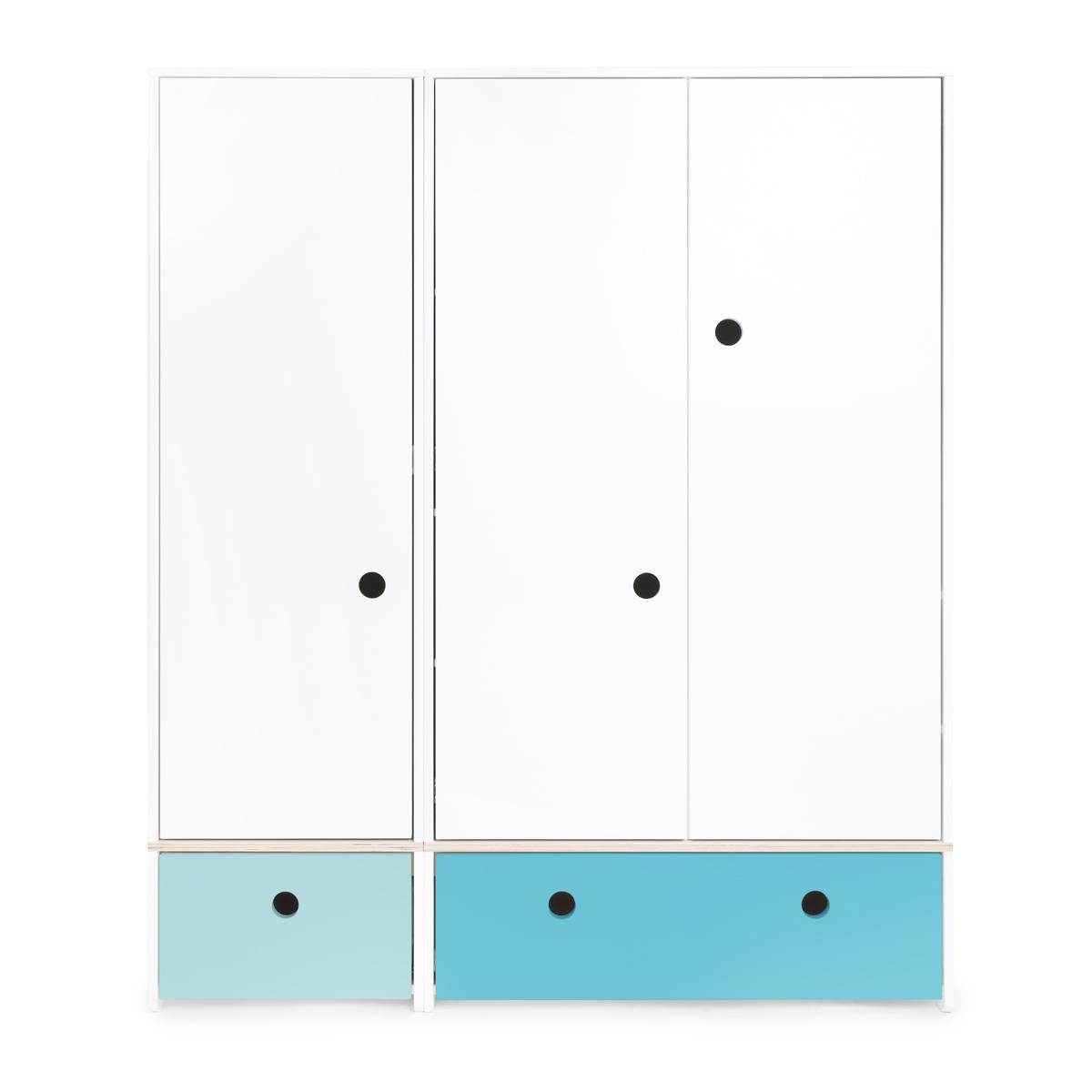 Kleiderschrank 3-türig COLORFLEX Schubladen sky blue-paradise blue