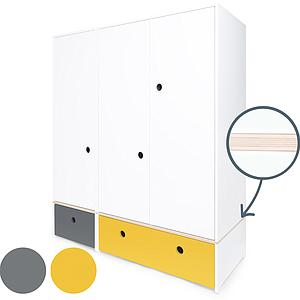 Kleiderschrank 3-türig COLORFLEX Schubladen space grey-nectar yellow