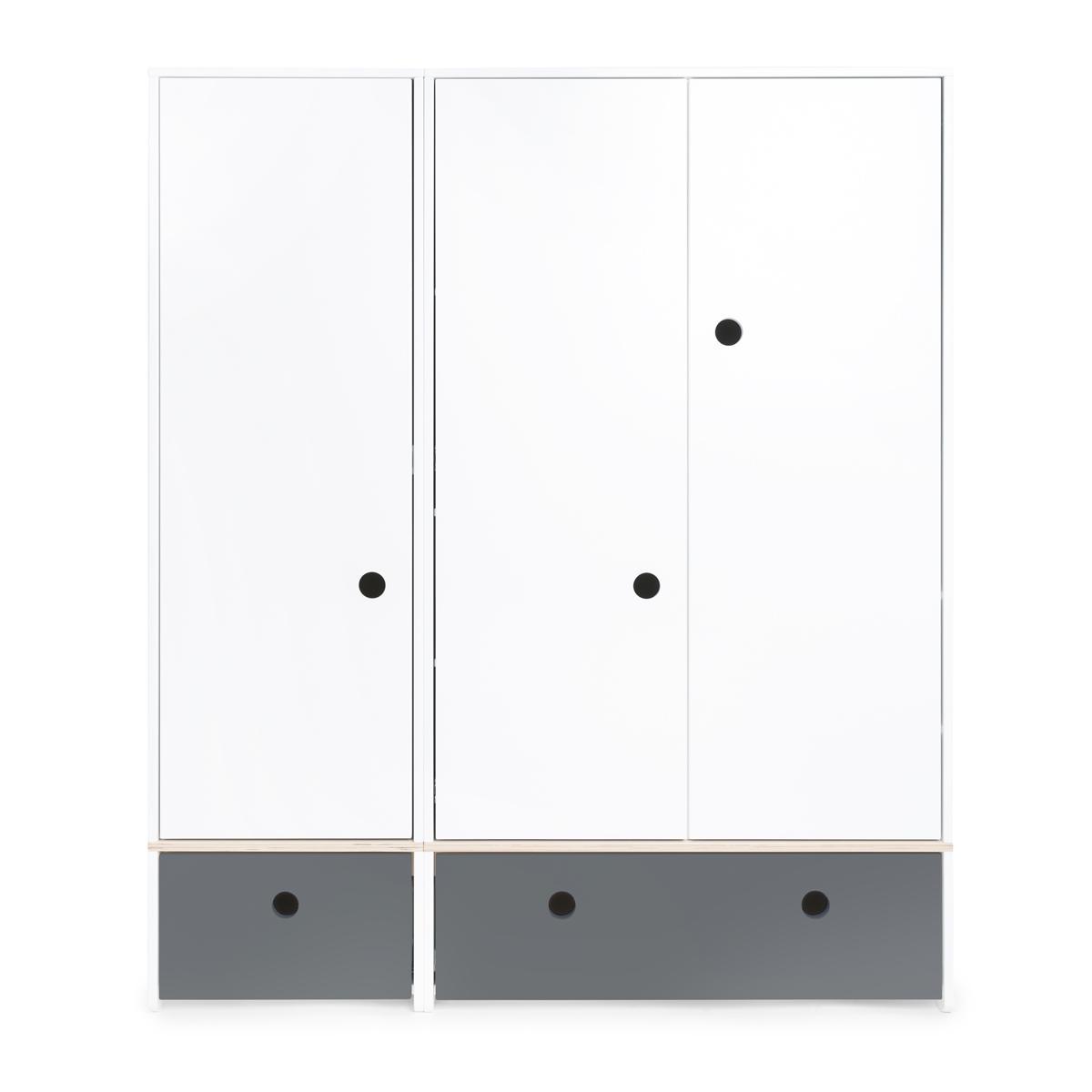 Kleiderschrank 3-türig COLORFLEX Schubladen space grey