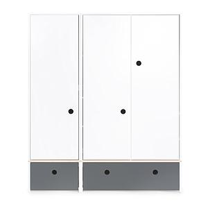 Kleiderschrank 3-türig COLORFLEX Schubladen space grey