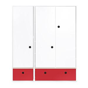 Kleiderschrank 3-türig COLORFLEX Schubladen true red