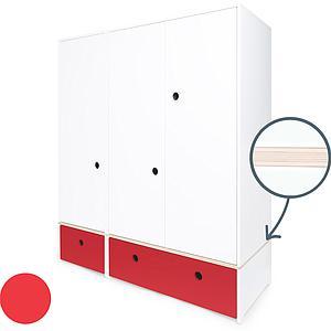 Kleiderschrank 3-türig COLORFLEX Schubladen true red