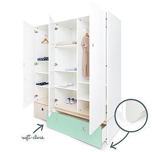 Kleiderschrank 3-türig COLORFLEX Schubladen white wash-mint