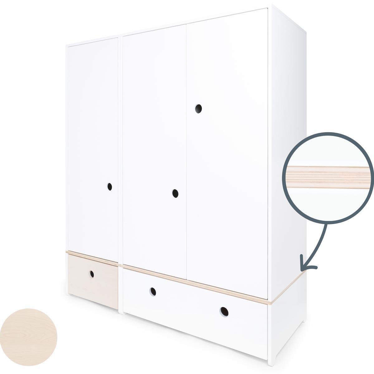 Kleiderschrank 3-türig COLORFLEX Schubladen white wash-white